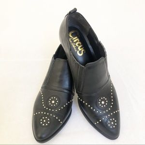Sam Edelman black with gold stud shoe booties NWT